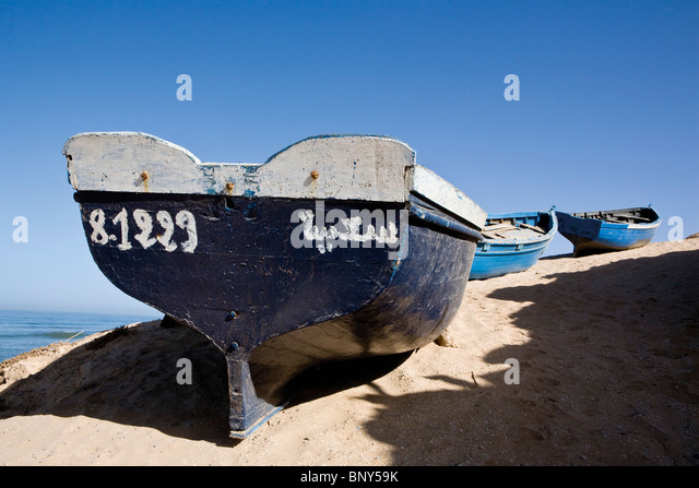 Fishing boats on beach, Sous-Massa National Park, Morocco - Stock Image
