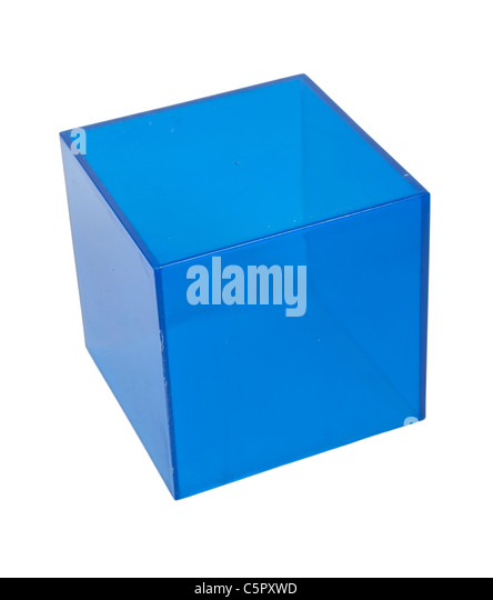 Blue Cube geometric shape used for educational purposes - path included - Stock Image