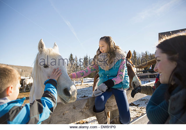 Siblings stroking horse on ranch during vacation - Stock-Bilder
