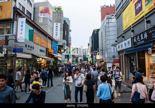 Insadong-gil shopping district, Seoul, South Korea, Asia - Stock Image