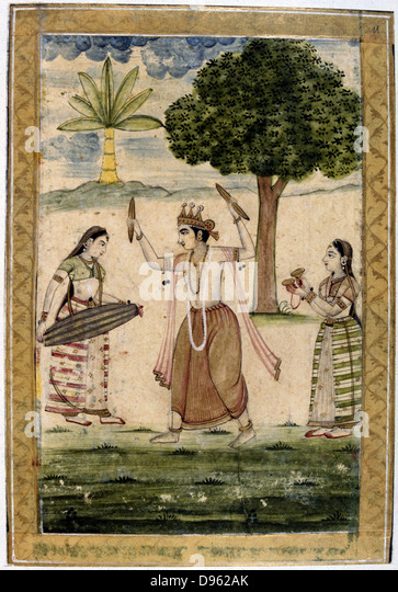 Album of Ragamala.  Megha Raga (rainy season): Krishna dances to playing of young women to call down the rain. 19th - Stock Image
