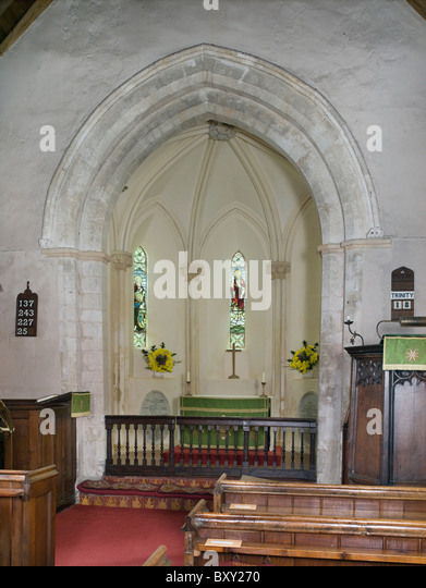 Tidmarsh, Berkshire. St Laurence Church, rare polygonal apse, mid 13th century - Stock Image