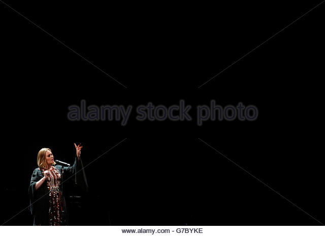 Singer Adele performs on The Pyramid stage at Worthy Farm in Somerset during the Glastonbury Festival, Britain, - Stock Image