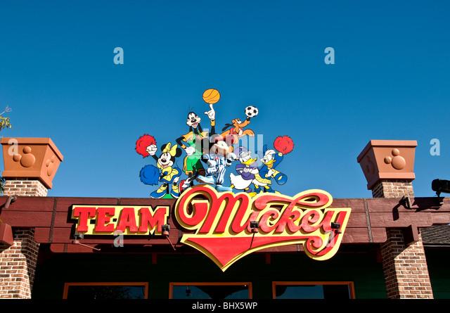 Downtown Disney Orlando FL Florida Team Mickey Store souvenirs and shopping - Stock Image