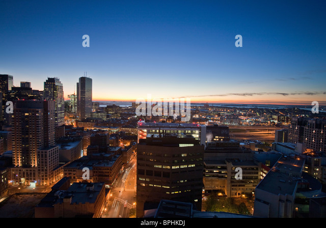 Buildings in a city, Kneeland Street, Chinatown, Boston, Suffolk County, Massachusetts, USA - Stock Image