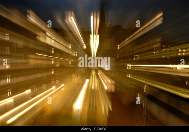 MOVING CITY LIGHTS - Stock Image