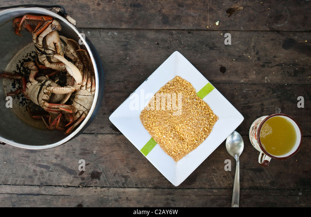 Quinoa and cooked crabs, overhead view - Stock-Bilder