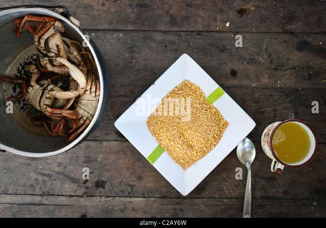 Quinoa and cooked crabs, overhead view - Stock-Bilder
