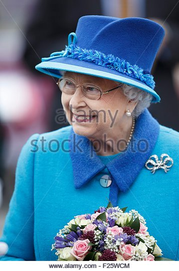 epa04921907 Britain's Queen Elizabeth II arrive at Scottish Borders town of Tweedbank on board of the train - Stock Image