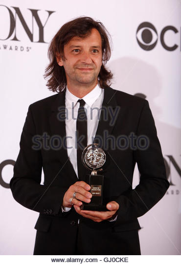 Rob Howell poses with his award for Best Scenic Design of a Musical for 'Matilda The Musical' at the American - Stock Image