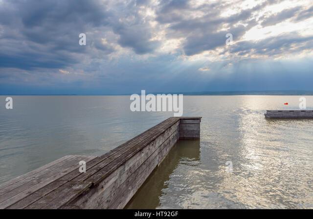 Wooden Jetty, Weiden, Lake Neusiedl, Burgenland, Austria - Stock Image