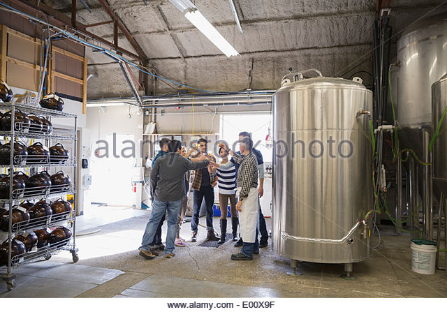 Friends toasting beer glasses on tour in brewery - Stock Image