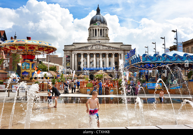 Nottingham Riviera, temporary artificial urban beach in the Old Market Square, Nottingham city centre UK - Stock Image