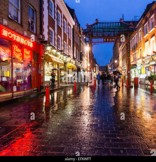 China Town , Gerrard Street at Rain, London, UK - Stock Image