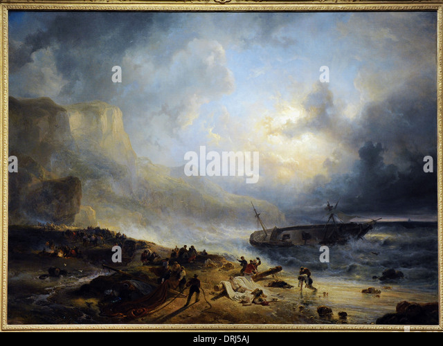 Wijnand Nuijen (1813-1839). Dutch painter. Shipwreck off a Rocky Coast, c.1837. Rijksmuseum. Amsterdam. Holland. - Stock Image