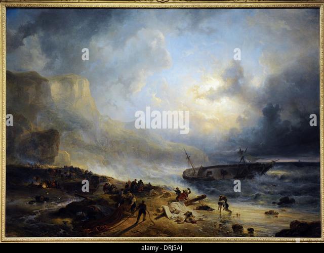 Wijnand Nuijen (1813-1839). Dutch painter. Shipwreck off a Rocky Coast, c.1837. Rijksmuseum. Amsterdam. Holland. - Stock Image