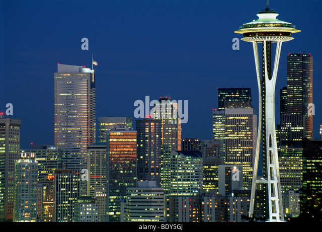 Skyline of Seattle, the Space Needle right, at night, Seattle, Washington, USA - Stock Image