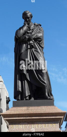 statue of Sidney Herbert, in St James's, London - Stock Image
