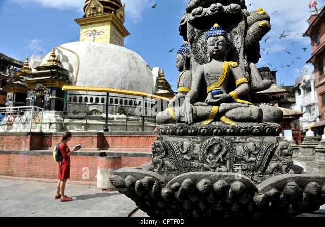 Female tourist in Kathmandu, Nepal - Stock Image