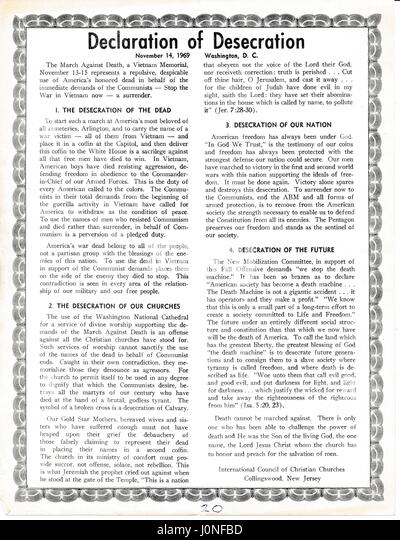 A Vietnam War era leaflet from the International Council of Christian Churches titled 'Declaration of Desecration' - Stock Image