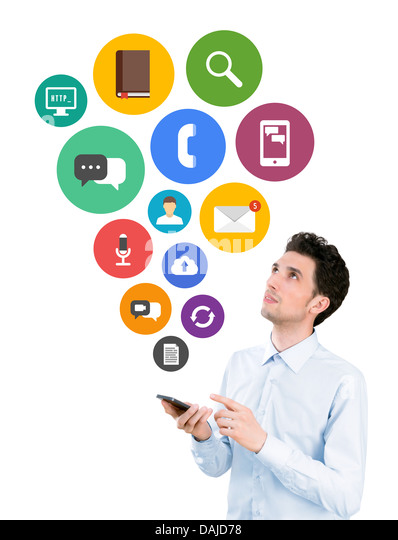 Man holding smartphone and looking on colorful mobile application icons on communication and mobile connection theme - Stock Image