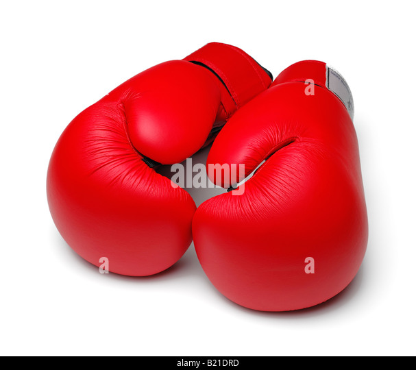 Boxing Gloves on a White Background - Stock Image
