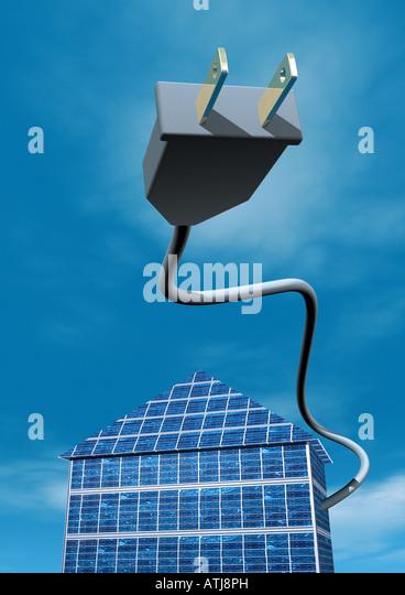 solar energy house Solarstrom Solarhaus - Stock Image