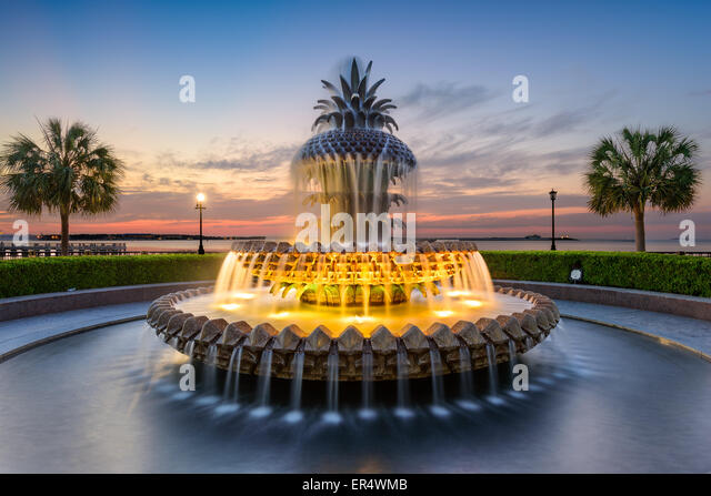 Charleston, South Carolina, USA at the Waterfront Park Pineapple Fountain. - Stock Image