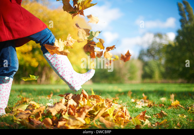 Cropped shot of mature woman kicking autumn leaves in park - Stock Image