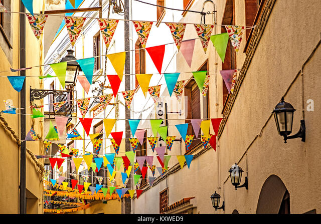 homes and street decorations for mid summers eve, st. johns eve traditional celebrations in tossa de mar, catalonia, - Stock Image