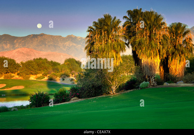 Monset over Desert Willow Golf Resort, Palm Desert, California - Stock-Bilder
