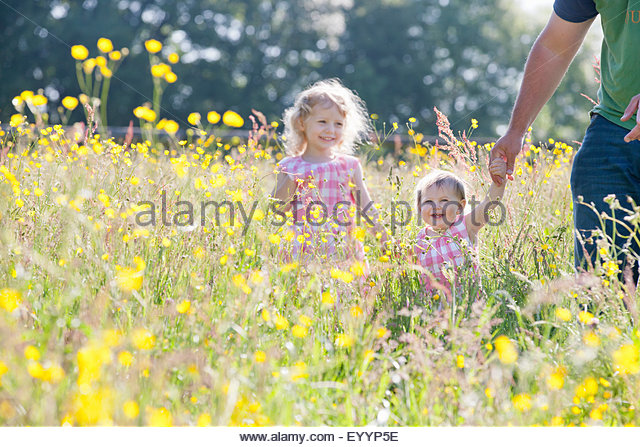 Portrait of smiling baby and young girl daughters holding fathers hand in wildflower meadow - Stock Image