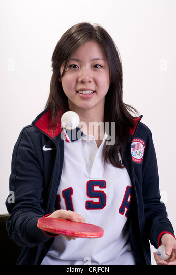 American female table tennis player Arielle Hsing at Team USA Media Summit in Dallas, TX in advance of the 2012 - Stock Image