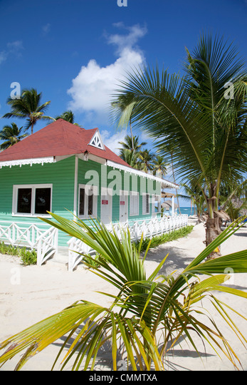 Beach hut, Bavaro Beach, Punta Cana, Dominican Republic, West Indies, Caribbean, Central America - Stock Image