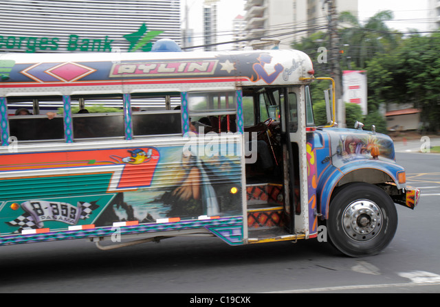 Panama City Panama Marbella Diablo Rojo bus public transportation custom paint job open door - Stock Image