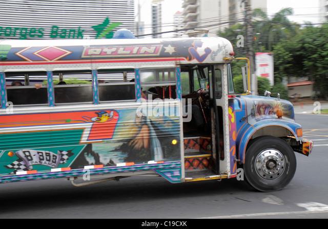 Panama Panama City Marbella Diablo Rojo bus public transportation custom paint job open door - Stock Image