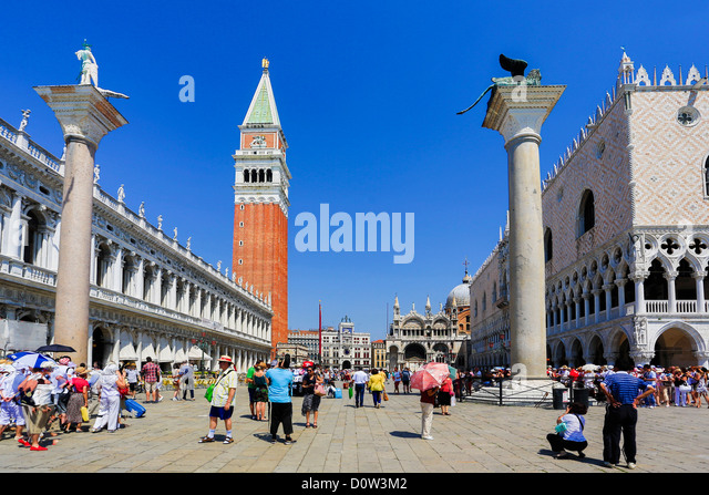 Italy, Europe, travel, Venice, San Marco, Square, cathedral, ducale, palace, square, tourism, tourists, Unesco, - Stock-Bilder