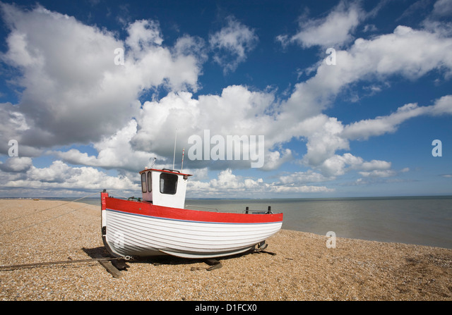 Boat on the beach, Dungeness, Kent, England, United Kingdom, Europe - Stock Image