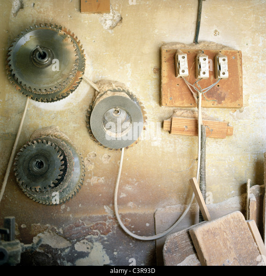 Amman, Wire connected between cogwheel and circuit board - Stock Image