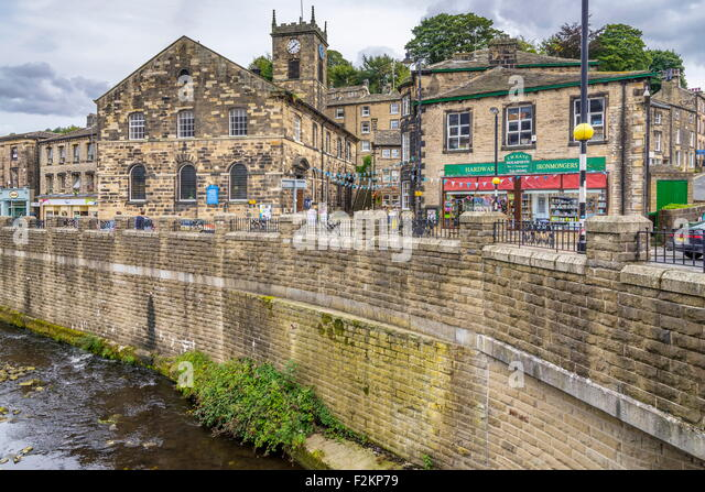 The centre of Holmfirth location of the tv series Last of the Summer Wine at Holmfirth in West Yorkshire. North - Stock Image