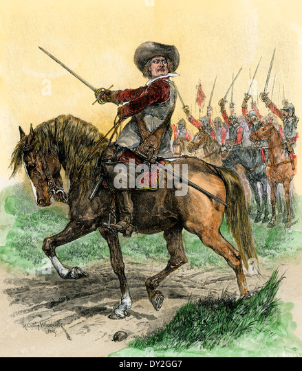 Cromwell leading troops at the Battle of Marston Moor, English Civil War, 1644. - Stock Image
