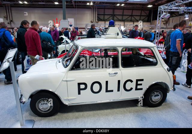 Mini police car at the 2012 Classic Motor Show, NEC, Birmingham, West Midlands - Stock Image