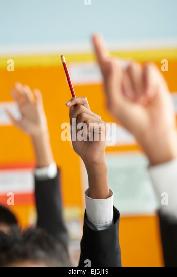 classroom, hands, school, hands up, pencil, bright, education, learning, answer, diverse, - Stock Image