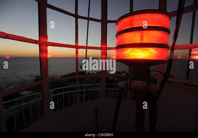 Uruguay, South America, Colonia del Sacramento, lighthouse, sea, light, lamp, - Stock Image