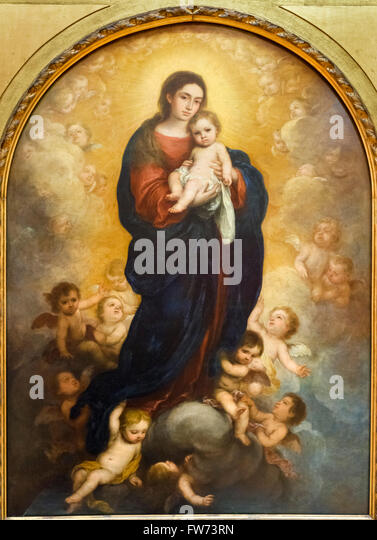 Virgin and Child in Glory by Bartolome Esteban Murillo, an altarpiece painted for the Archbishop of Seville's - Stock Image
