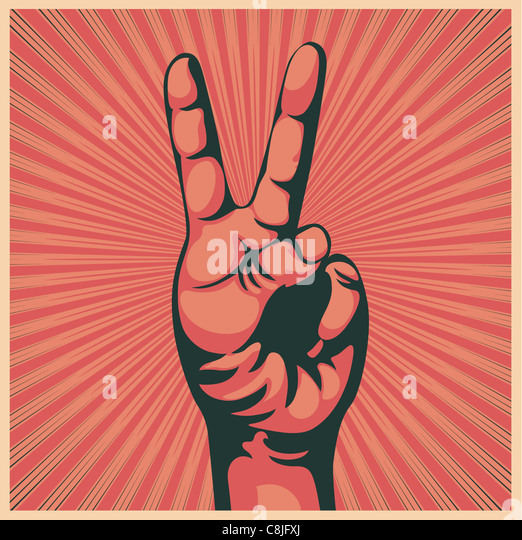 illustration in retro style of a hand with victory sign - Stock Image
