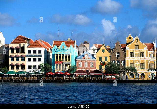 Curacao Willemstad harbor harbour scenic Punda side national symbol iconic image - Stock Image