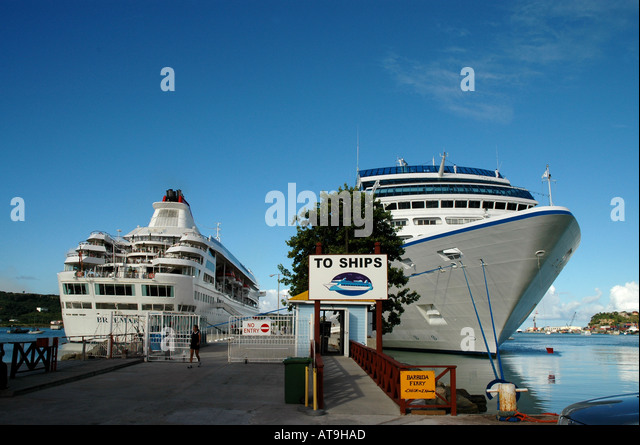 Antigua cruise ship dock at St John s two ships tied to dock - Stock Image