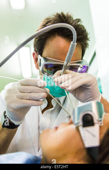 Snoring treatment by laser CO2, Foch hospital, Suresnes, France. - Stock Image