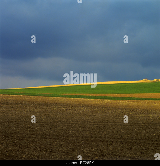 Ploughed field in  Auvergne. France. - Stock Image